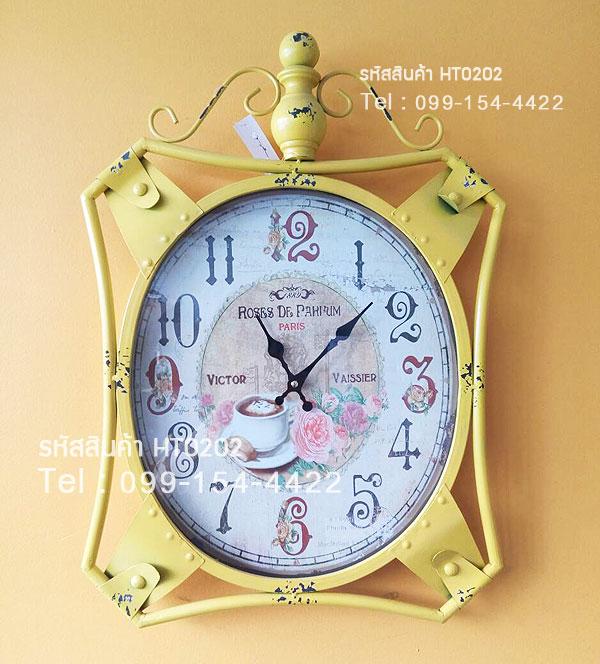 นาฬิกาแขวนติดผนัง Vintage Style สีเหลือง สำหรับตกแต่งร้านเก๋ๆไม่เหมือนใคร