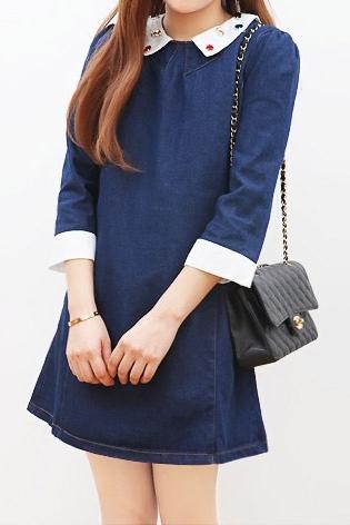 ชุดเดรสสั้น แขนยาว ผ้ายีนส์ สีน้ำเงิน