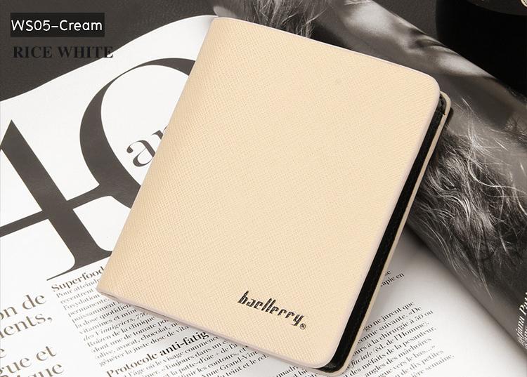 ( ลดล้างสต๊อค ) WS05-Cream กระเป๋าสตางค์ใบสั้น แนวตั้ง กระเป๋าสตางค์ผู้ชาย หนัง PU เกรดเอ สีครีม