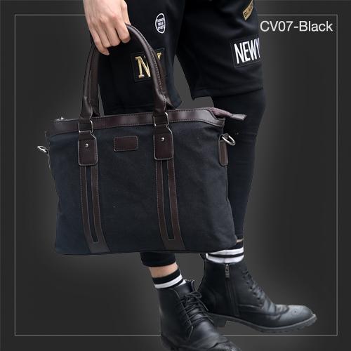 CV07-Black กระเป๋าถือผู้ชาย + สะพายข้าง ผ้าแคนวาส สีดำ