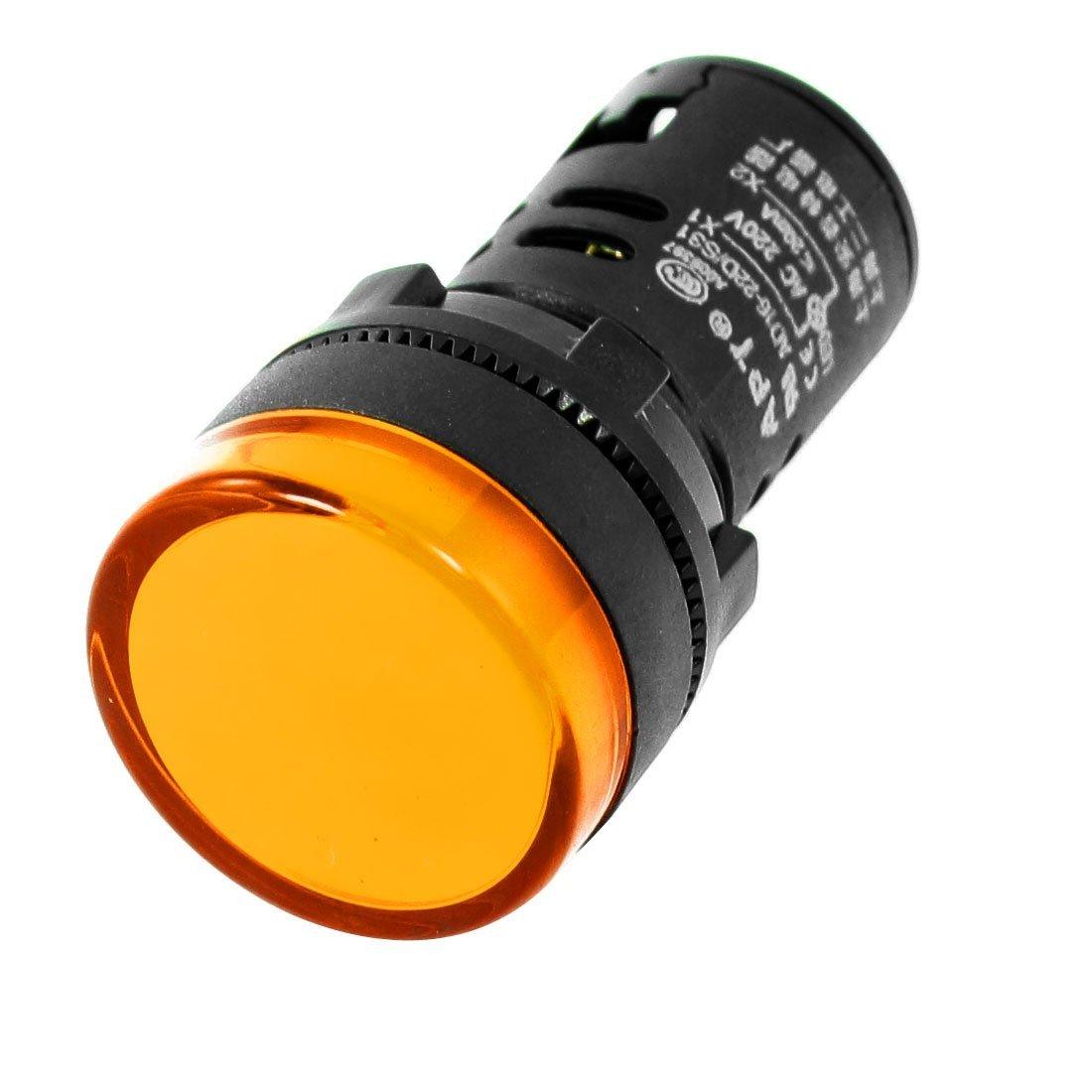 หลอดไฟสัญญาณ LED สีเหลือง ขนาด 22 มม Light Indicator Signal Pilot Lamp AC/DC 12V