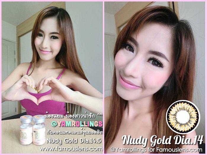 Nudy Gold Nudy Light Brown คอนแทคเลนส์สีน้ำตาลอ่อน คอนแทคเลนส์สีทอง @Yamrollings