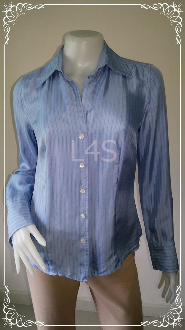 "BN3682--เสื้อเชิ้ตแฟชั่น silk สีฟ้า แบรนด์เนม ANN TAYLOR ""อก 35 นิ้ว"""