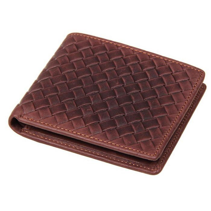 GT-8077 C กระเป๋าสตางค์ผู้ชาย ใบสั้น หนังแท้ปั้มลายสาน สีน้ำตาลอมแดง