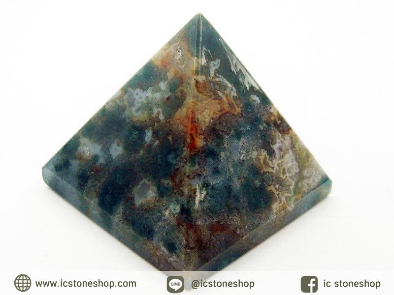 หินทรงพีระมิค- มอสอาเกต Moss Agate (176g)
