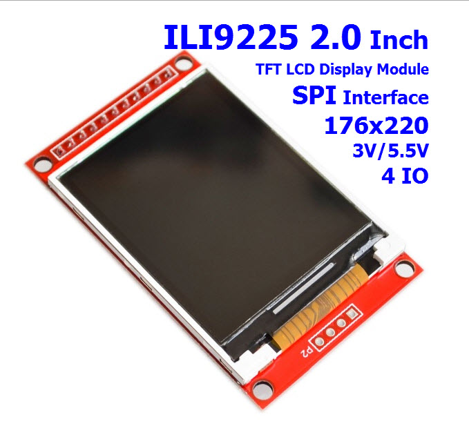 ILI9225 2.0 Inch TFT Display Module SPI Interface 176x220