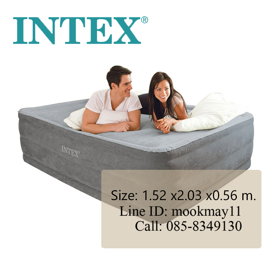 Intex Comfort Plush Queen ขนาด 5 ฟุตปั๊มลมในตัว สีเทา รุ่น 64418