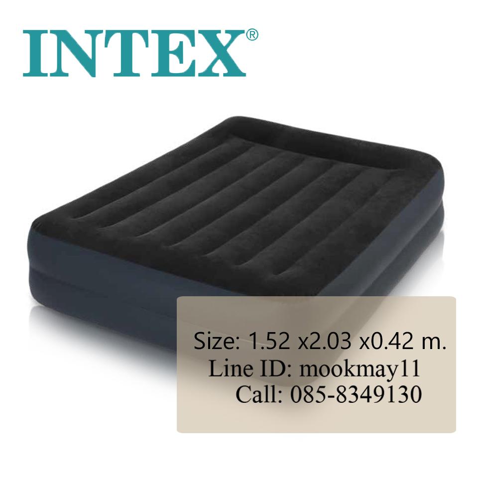 ใหม่! ที่นอนเป่าลมปั๊มลมในตัวมีขอบหมอน (สีดำ) รุ่น 64124