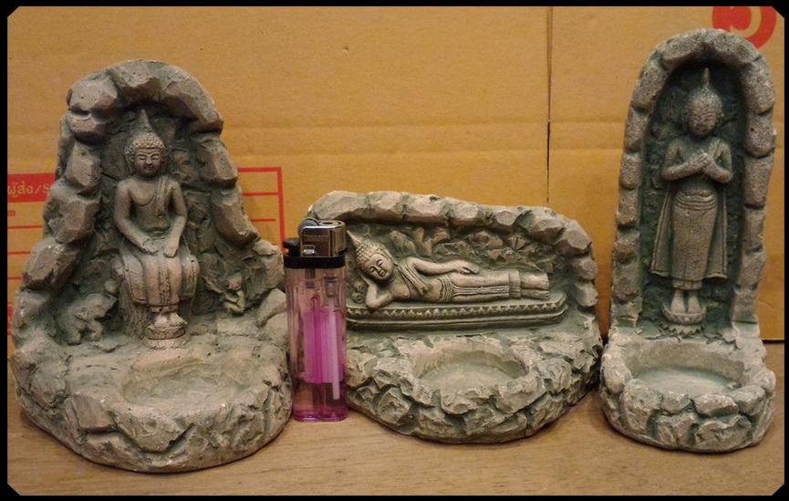 พระพุทธรูปหินทรายหล่อ(วางเทียนถ้วย) ชุดสามชิ้นสามปาง พิเศษ