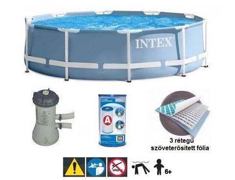สระน้ำขนาดใหญ่ Intex Prism 28700 ขนาด 10 ฟุต ทรงกลม Intex Prism Frame Pool 28700+เครื่องกรองไส้กรอง