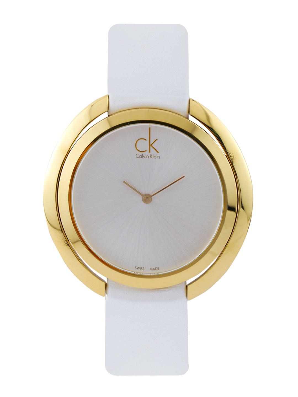 นาฬิกาข้อมือผู้หญิง Calvin Klein รุ่น K3U235L6, Aggregate white leather strap Analog Dress Quartz SWISS