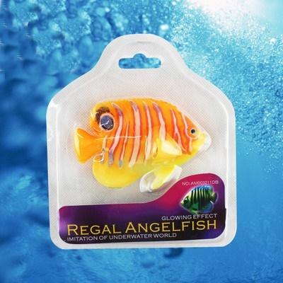 ปลาสินสมุทรบั้งเหลืองซิลิโคลนเรืองแสงตัวสีเหลือง ลายคาดขาวแดง