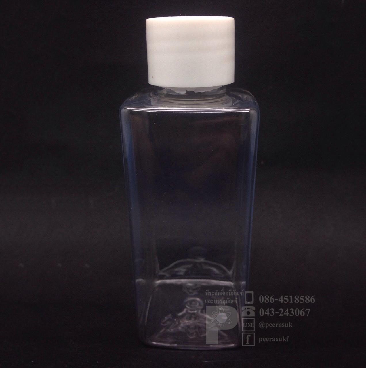 SB120 ml ใส+จุกตัน+ฝาเกลียวสีขาวทึบ แพคละ 10 ชิ้น