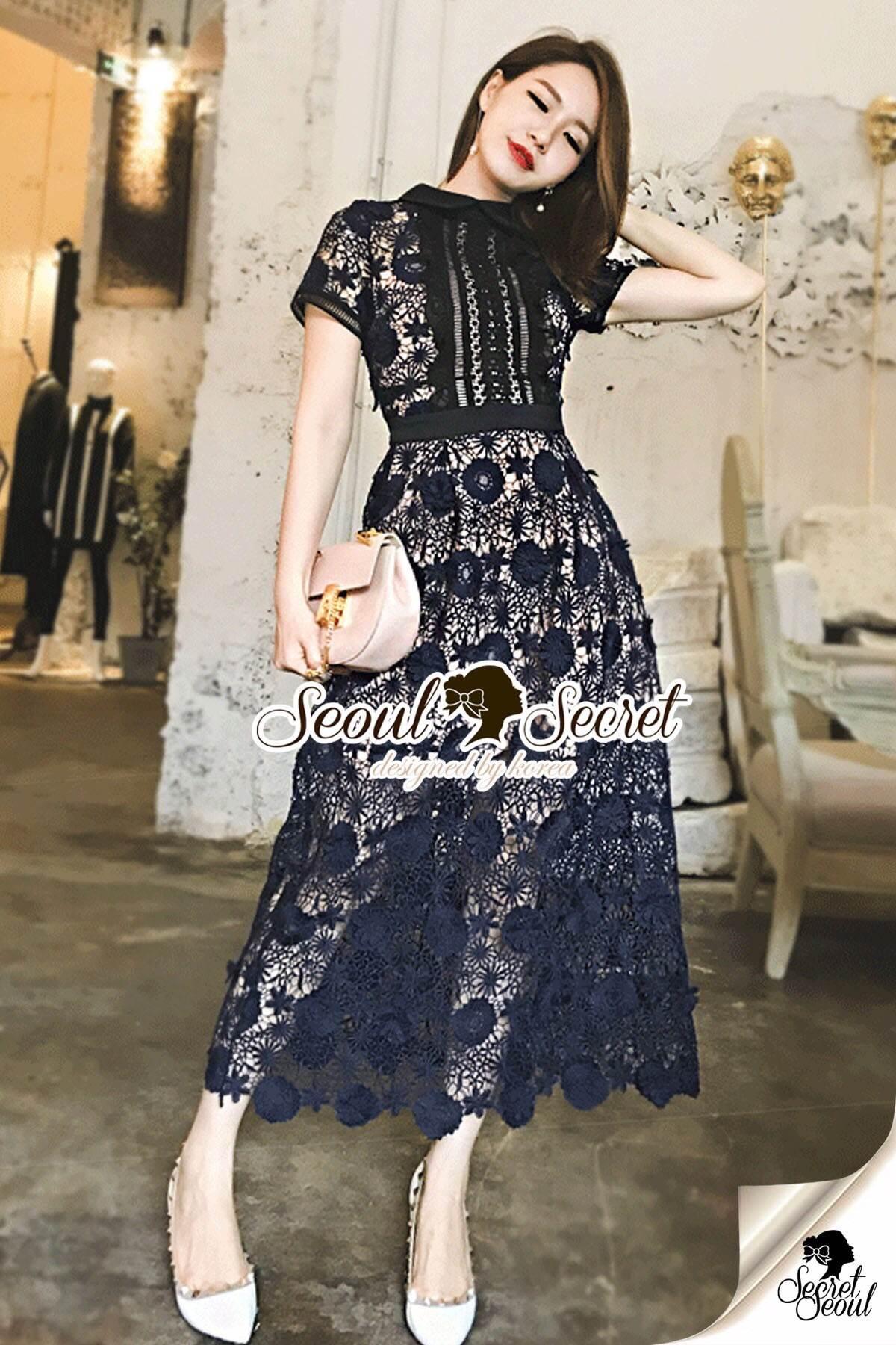 Seoul Secret Say's... Poppy Navy Lace Curve Out MaxiDress