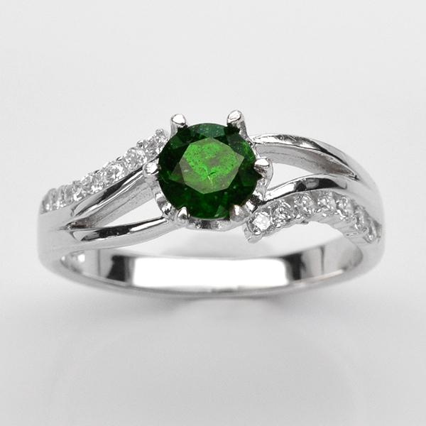 แหวนพลอยแท้ แหวนเงินแท้925 ชุบทองคำขาว ฝังพลอยโครมไดอ๊อกไซด์ ประดับเพชร CZ เกรดพรีเมี่ยม