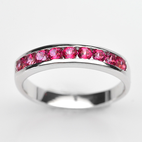 แหวนพลอยแท้ แหวนเงิน925 พลอย พิ้งค์ โทปาส ตัวเรือน ชุบทองคำขาว