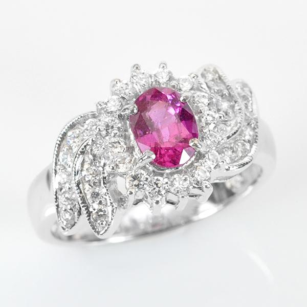 แหวนพลอยแท้ แหวนเงิน925 พลอยทัวร์มาลีน ประดับเพชร CZ ชุบทองคำขาว