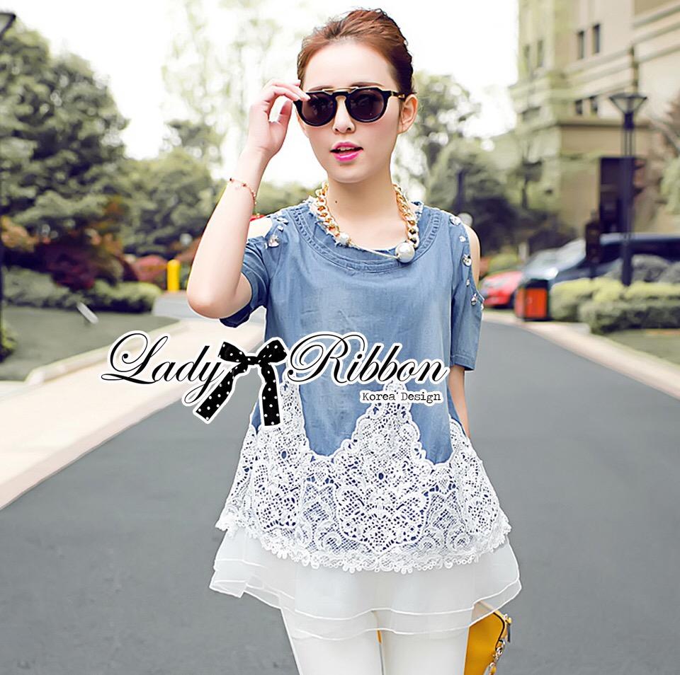 Lady Ribbon Dress LR13120516 &#x1F380 Lady Ribbon's Made &#x1F380 Lady Carrey Crystal Embellished Cut-Out Shoulder Insert Lace Denim Set
