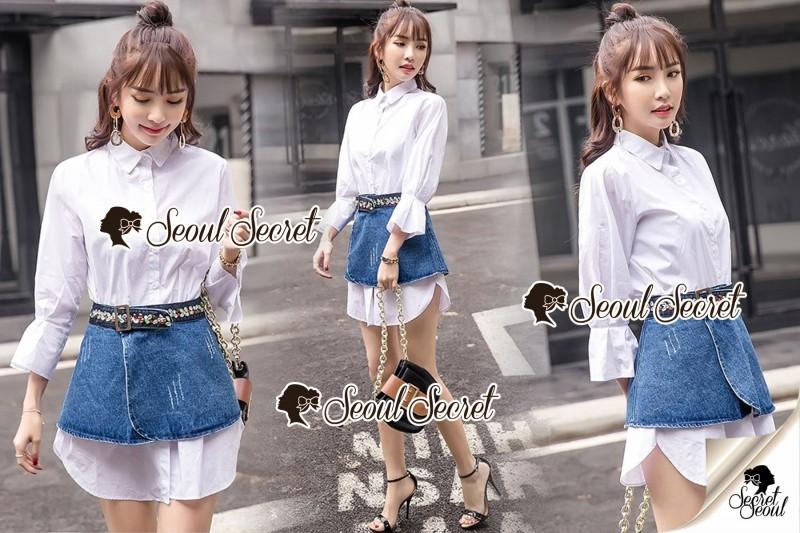 เสื้อผ้าแฟชั่นเกาหลี Seoul Secret Say's... Gemmy Denim Skirt ShirtDresss Set
