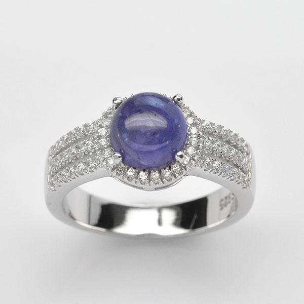 แหวนพลอยแท้ แหวนเงิน925 ชุบทองคำขาว พลอยแทนซาไนท์ ประดับเพชร CZ