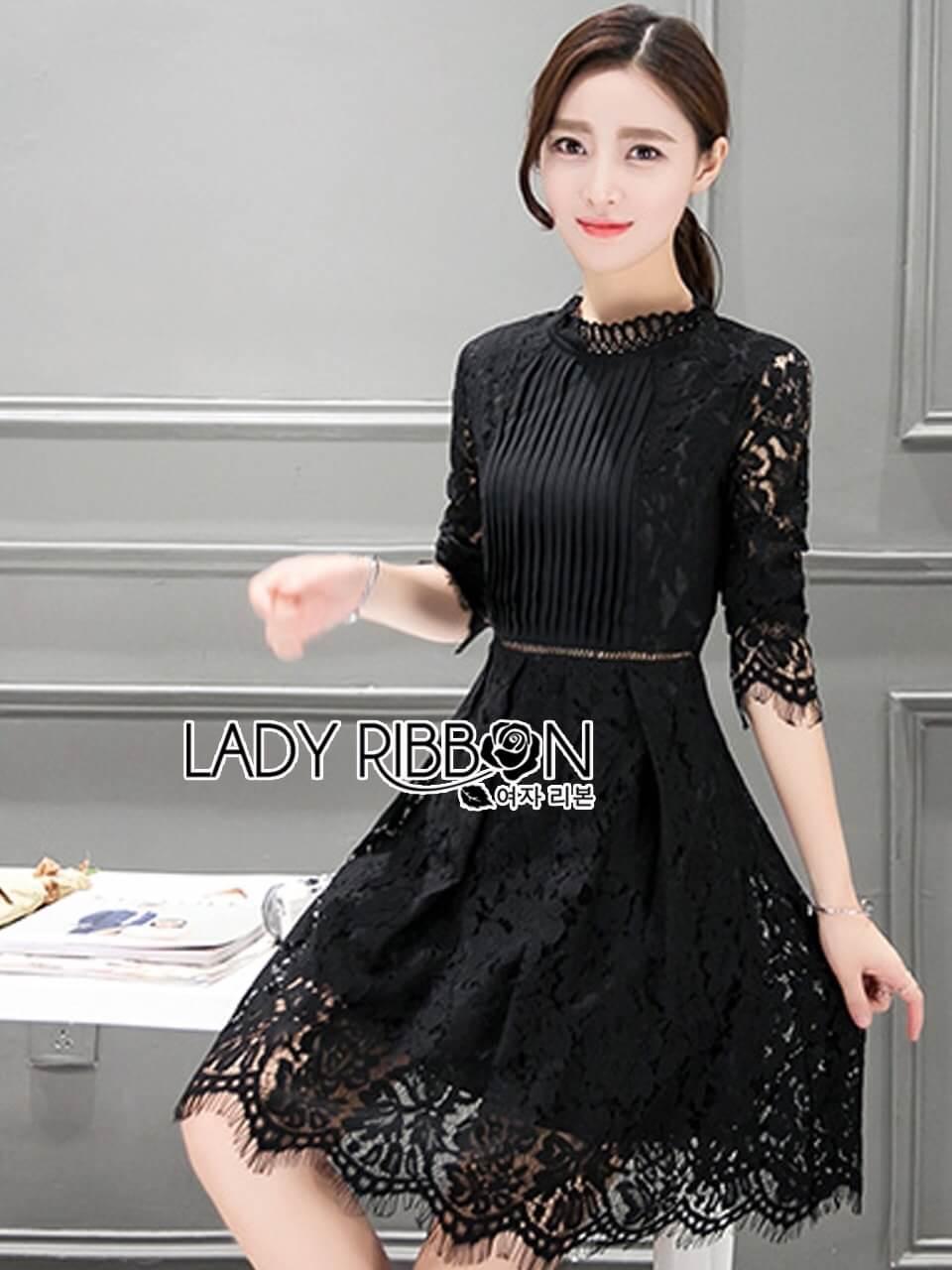 &#x1F380 Lady Ribbon's Made &#x1F380 Lady Christina Classic Feminine Pleated Black Dress