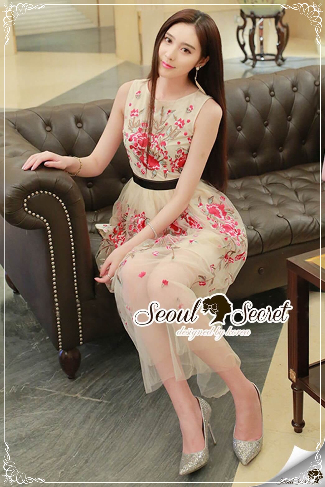 Seoul Secret Say's... Rosy Pink Red Blossom Stickly Netty Maxi Dress