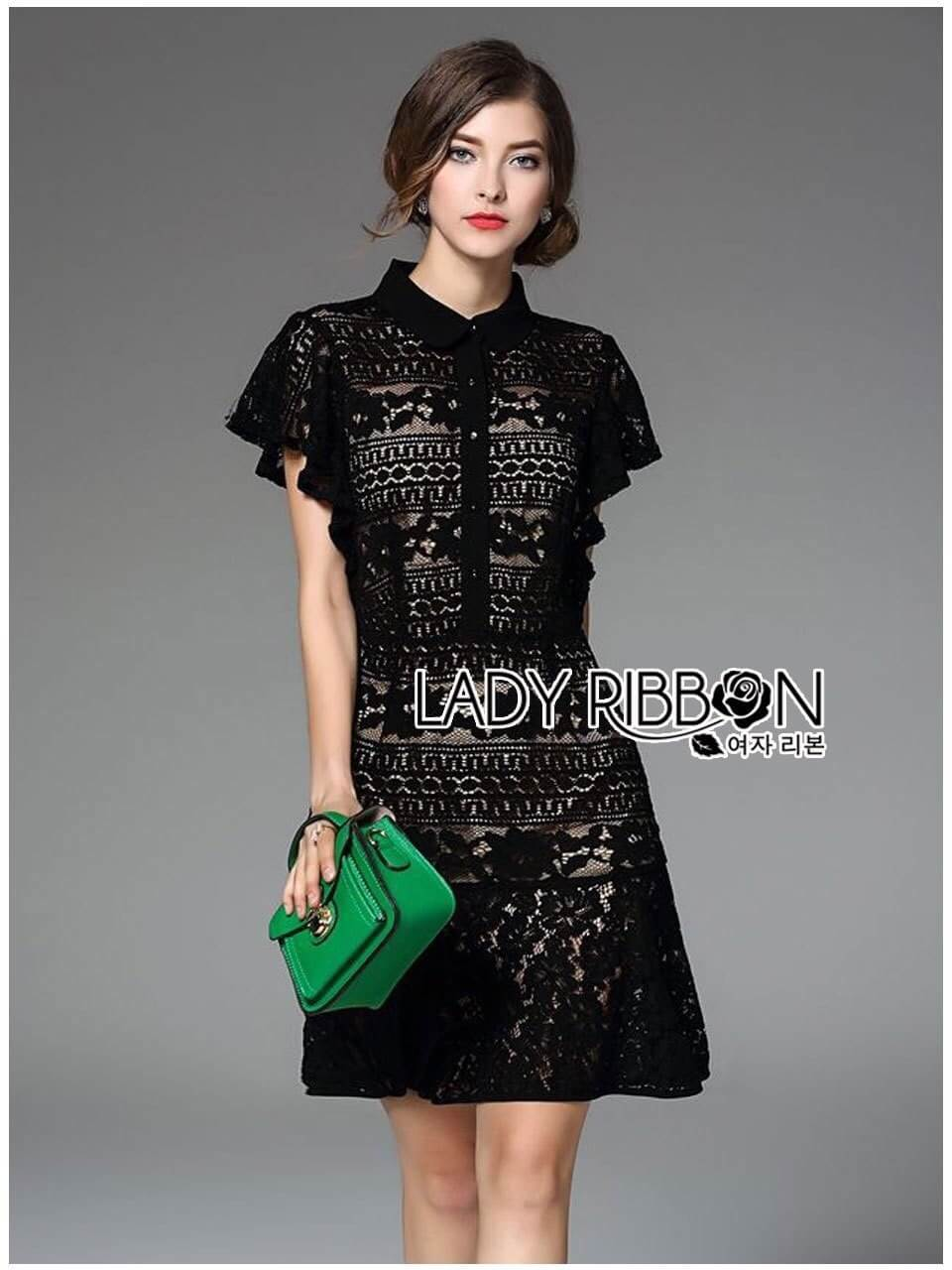 &#x1F380 Lady Ribbon's Made &#x1F380 Lady Christine Sweet Feminine Ruffle-Sleeve Lace Shirt Dress