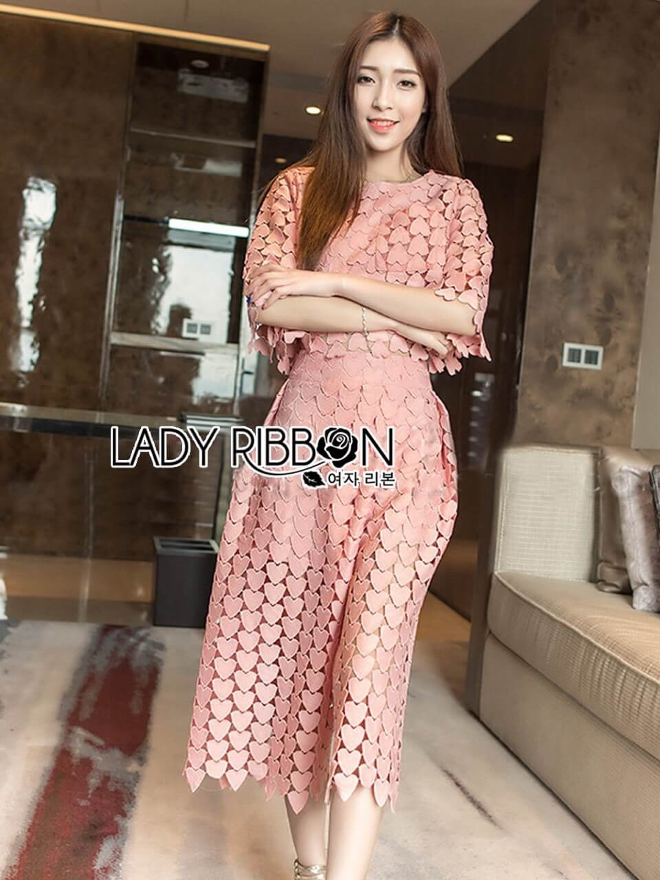 &#x1F380 Lady Ribbon's Made &#x1F380 Lady Charlotte Pinky Feminine Hearty Embroidered Set