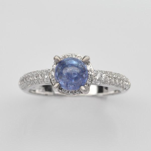 แหวนพลอยแท้ แหวนเงิน925 พลอย แทนซาไนท์ ประดับเพชร CZ ชุบทองคำขาว