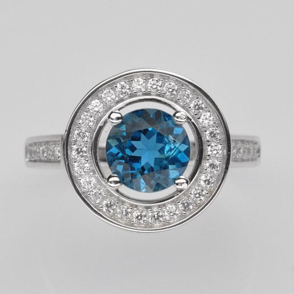 แหวนพลอยแท้ แหวนเงินแท้925 ชุบทองคำขาวฝังพลอยโทแพซ ล้อมเพชร CZ เกรดพรีเมี่ยม