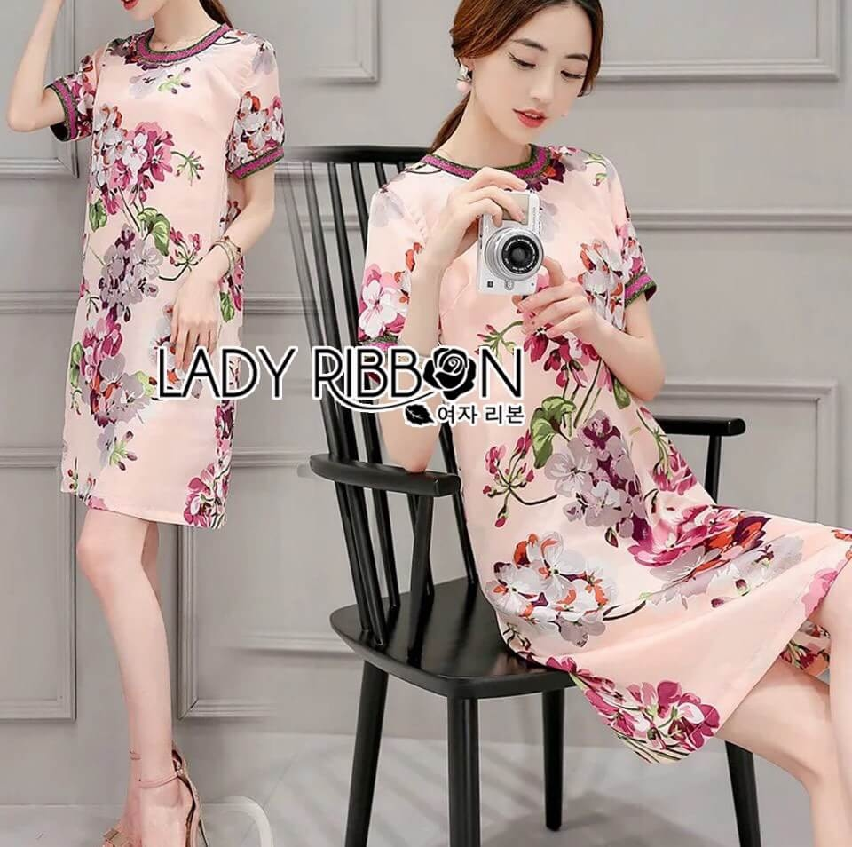 &#x1F380 Lady Ribbon's Made &#x1F380 Lady Isabelle Sweet Feminine Flower Printed Pink Dress