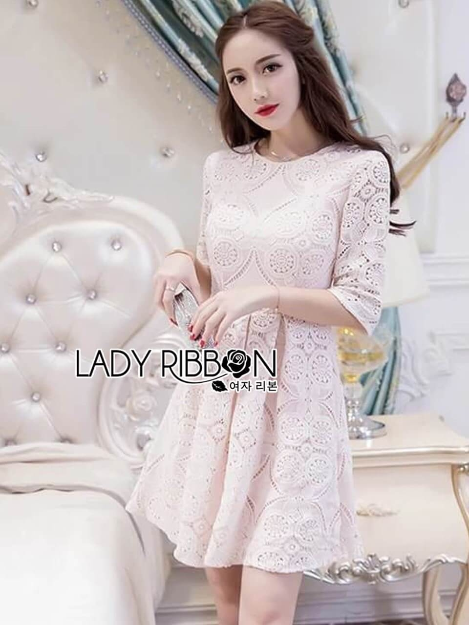 &#x1F380 Lady Ribbon's Made &#x1F380 Lady Abigail Sweet Feminine Laser-Cut and Embroidered Cotton Dress
