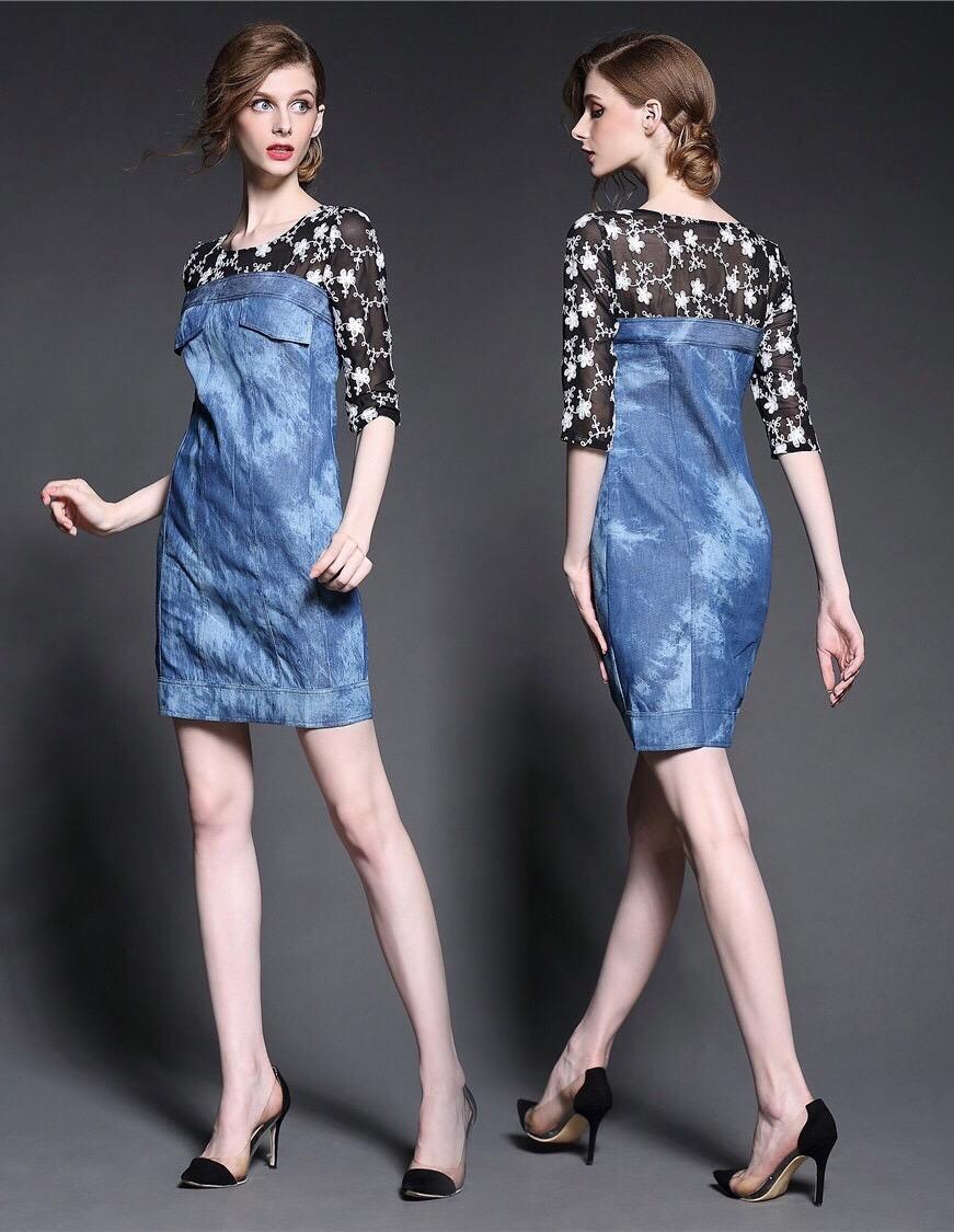 Brand Cliona made' Fanny Luxury Denim Dress - Mini dress แขนสามส่วน