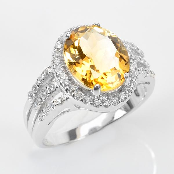 แหวนพลอยแท้ แหวนเงิน 925 พลอยธรรมชาติแท้ซิทริน ล้อมด้วยเพชร CZ คุณภาพสูง