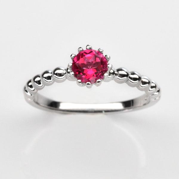แหวนพลอยแท้ แหวนเงิน925 พลอย พิ้งค์ โทปาส ชุบทองคำขาว