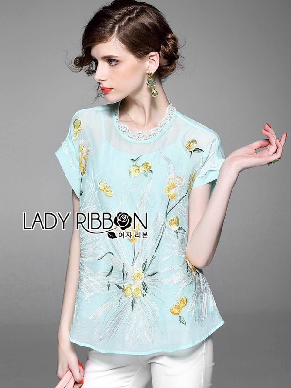 &#x1F380 Lady Ribbon's Made &#x1F380 Lady Grace Pastel Floral Embroidered Blouse