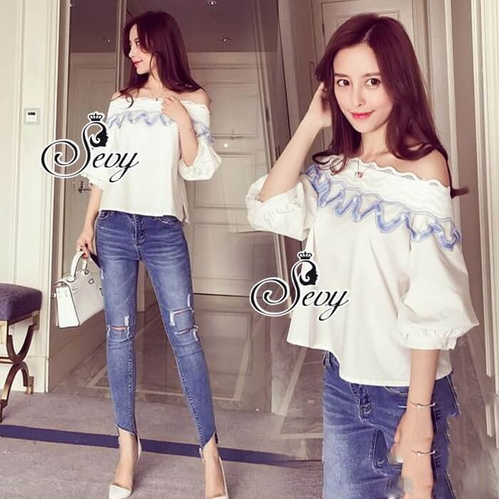 Sevy Off Shoulder Lace Raising Dolly Blouse