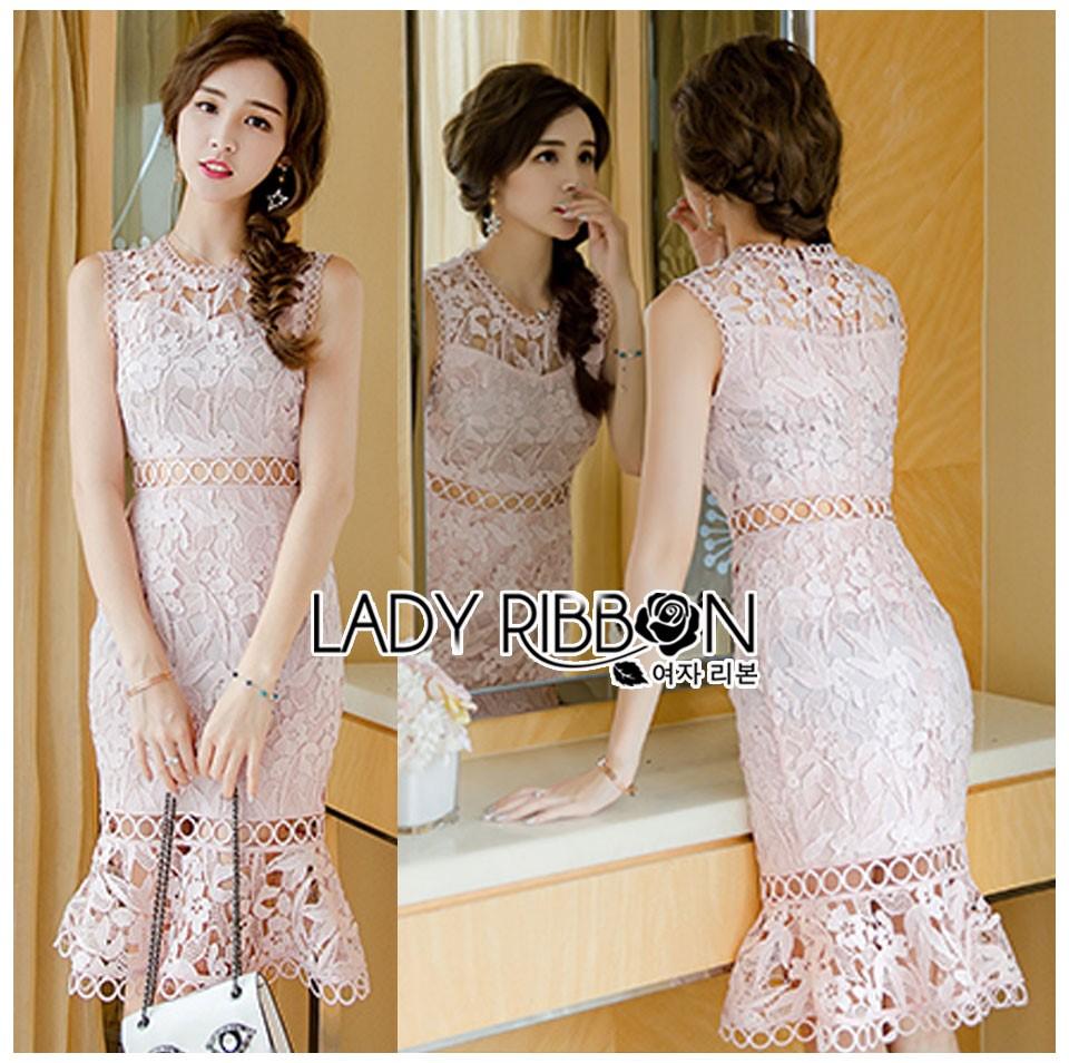 🎀 Lady Ribbon's Made 🎀 Lady Emma Sweet Baby Pink Guipure Lace Dress
