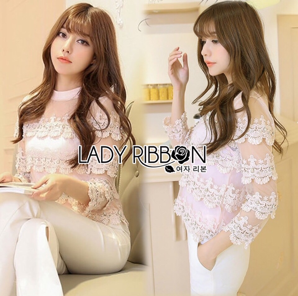 Lady Ribbon Korea LR12230516 &#x1F380 Lady Ribbon's Made &#x1F380 Lady Sweet Silk Organza with Embroidered Striped Lace Cropped Top