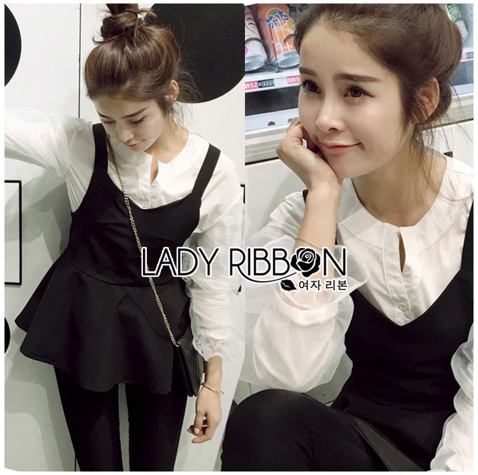 &#x1F380 Lady Ribbon's Made &#x1F380 Lady Rachel Casual Minimal Chic Black and White Blouse set