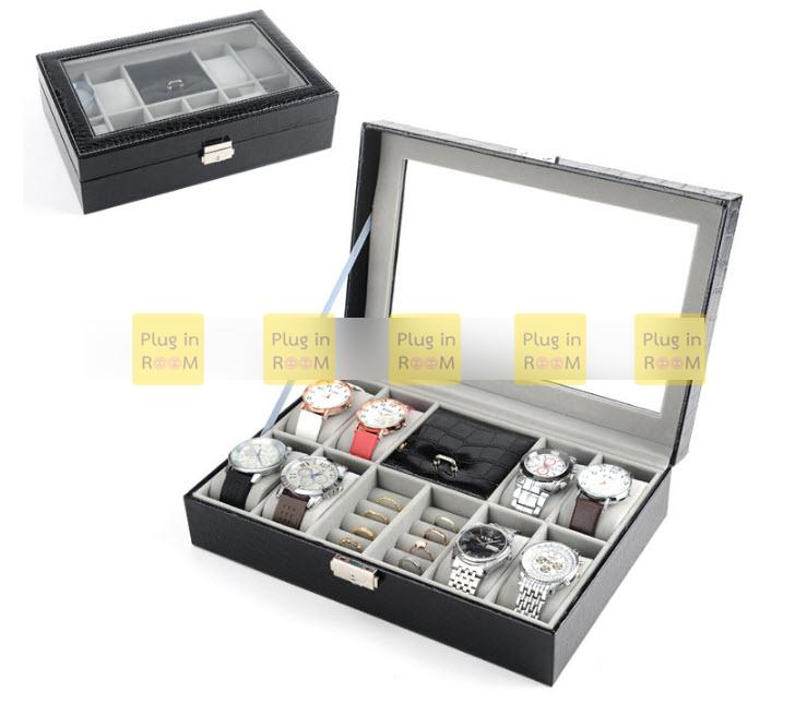 กล่องหนังเก็บนาฬิกา 12 ช่อง (3 in1 ) สีดำ