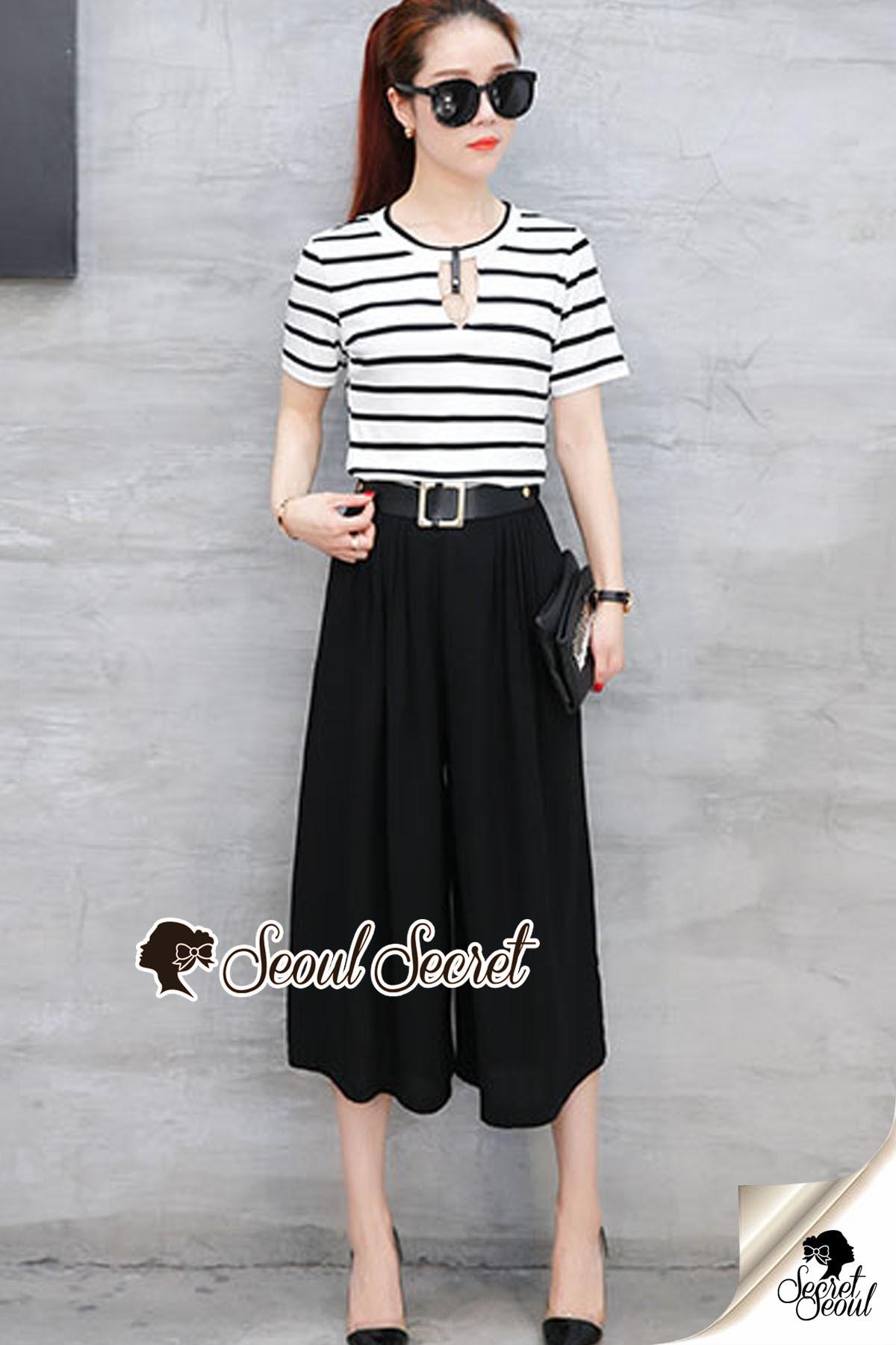 Seoul Secret Say's... Smarty Stripe Sleeve Chic Set