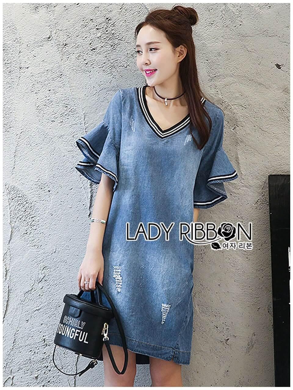 &#x1F380 Lady Ribbon's Made &#x1F380 Lady Ashley Smart Casual Ruffle-Sleeve Denim Dress