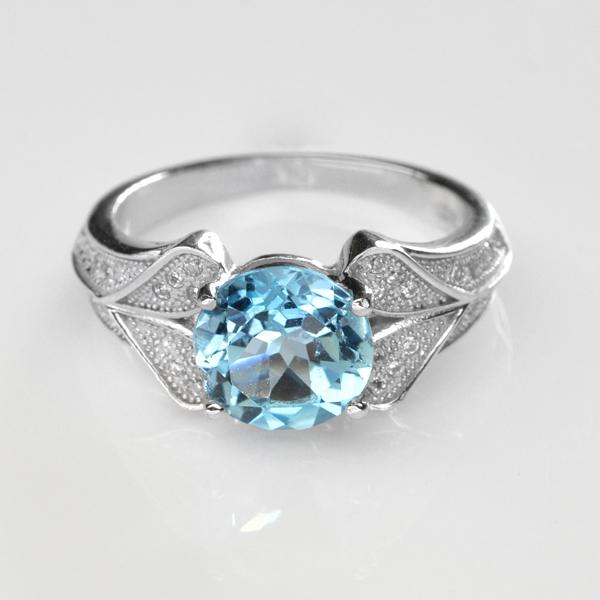 แหวนพลอยแท้ แหวนเงิน925 ชุบทองคำขาว ฝังพลอยโทปาส ประดับเพชรสังเคราะห์ CZ