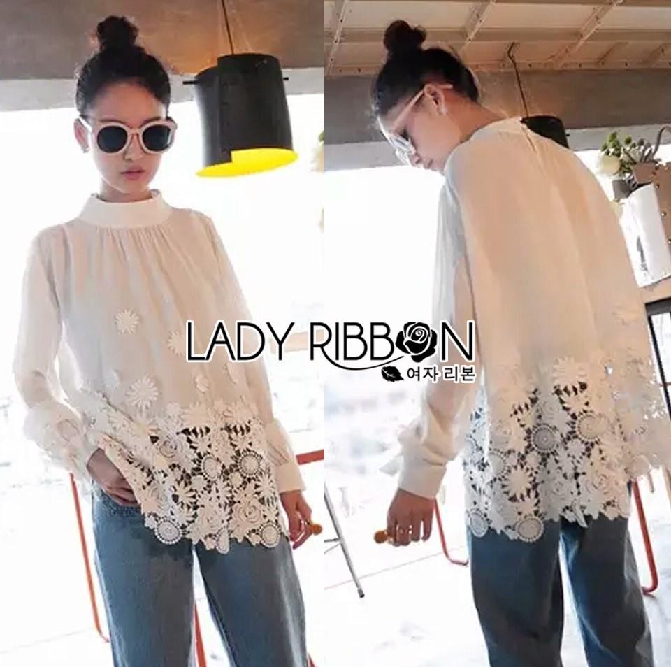 &#x1F380 Lady Ribbon's Made &#x1F380 Lady Cassandra Classic Vintage White Lace & Crepe Blouse
