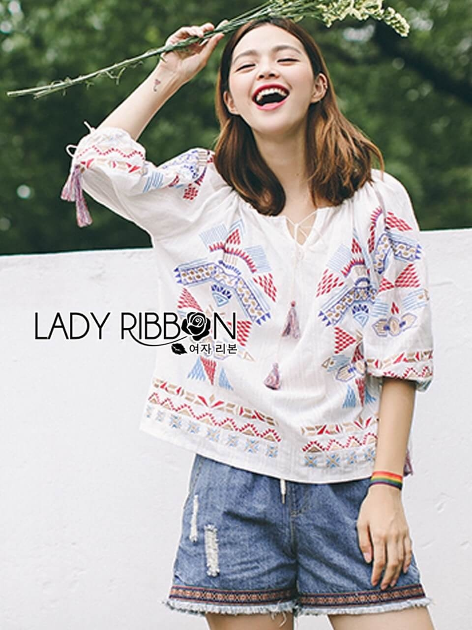 &#x1F380 Lady Ribbon's Made &#x1F380 Lady Iris Local Embroidered Cotton with Tassel
