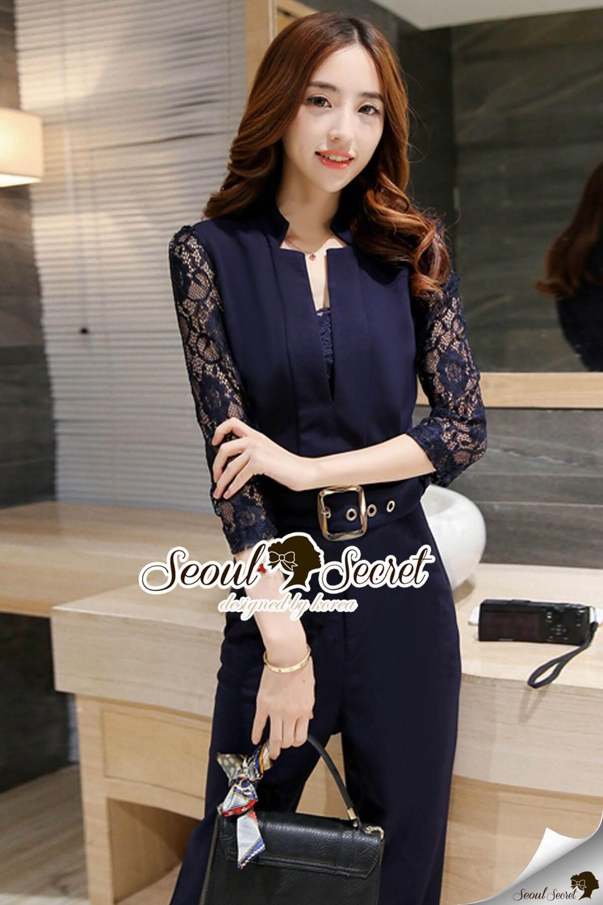 Seoul Secret Say's... Zarry Smarty Lace Sleeve Playsuit