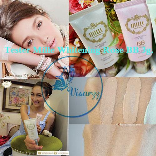 (Tester 3g.) Mille Whitening Rose BB Cream SPF 30 PA++ # 2 Glowing สำหรับผิวขาวสว่างกระจ่างใส บีบีกุหลาบปรับหน้าเนียนเรียบ ขาวใส ไม่ทำให้อุดตัน