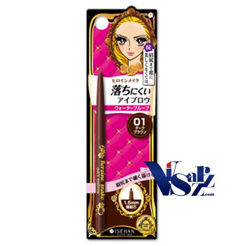 Kiss Me Japan Heroine Make Quick Eyebrow Liner #01 Dark Brown 0.07g ดินสอเขียนคิ้วกันน้ำ กันเหงื่อ ไม่เลือนหายระหว่างวัน เนื้อนุ่ม หัวเล็กเพียง 1.5mm บังคับง่ายทำให้วาดรูปทางของคิ้วได้เป๊ะอย่างธรรมชาติ