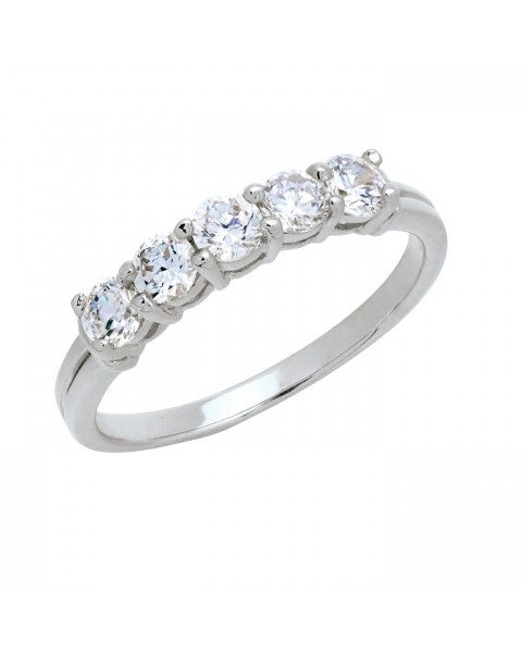 แหวนประดับเพชรฝังหนามเตย 5 เม็ด หุ้มทองคำขาวแท้